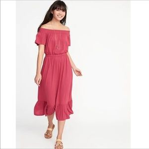 2/$20 Old Navy Off The Shoulder Midi Ruffle Dress